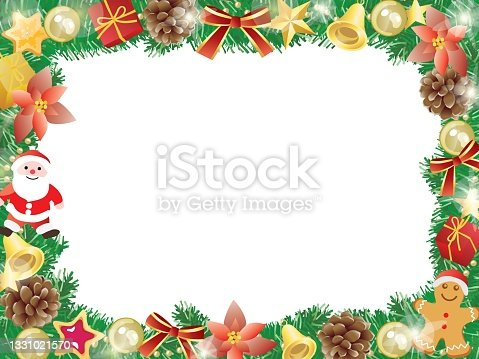istock Red Christmas frame of Santa, poinsettia, and pinecone. 1331021570