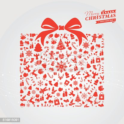 Red Christmas gift box with icons and text. Text and design elements are on different layers, grouped.  Aics3 and Hi-res jpg files are also included.