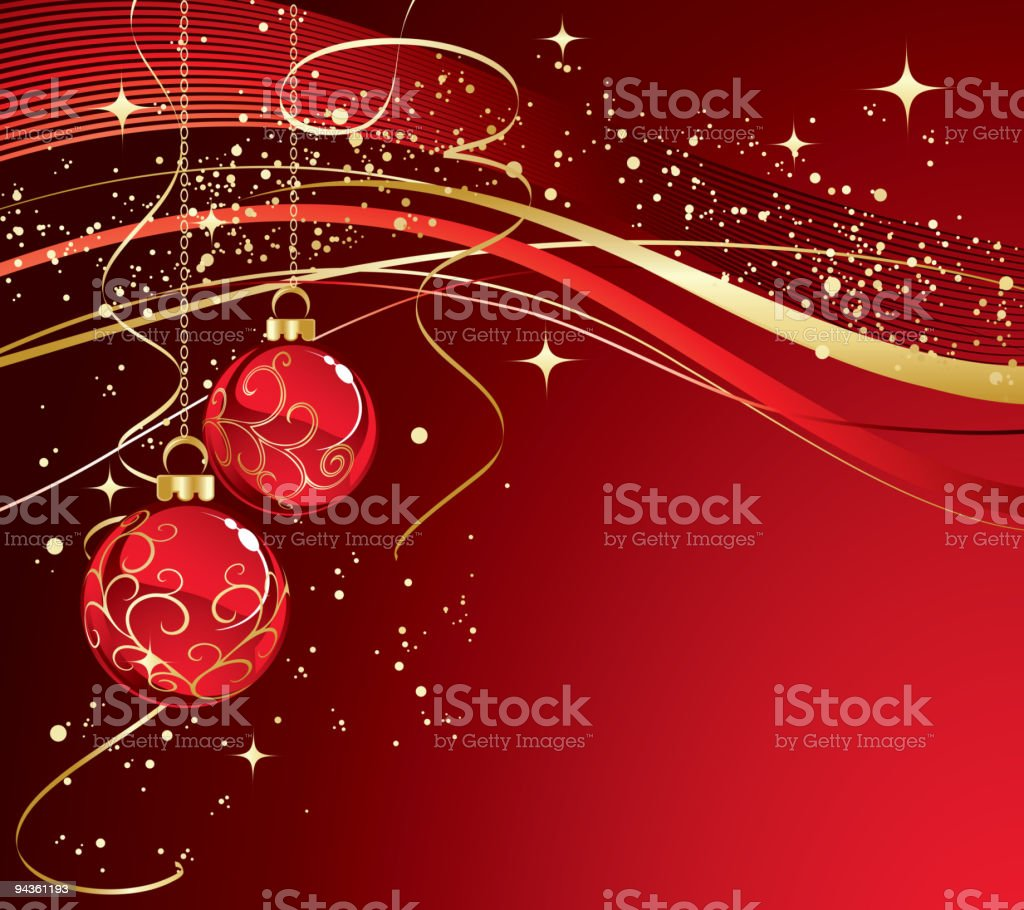 Red christmas greeting with balls royalty-free stock vector art