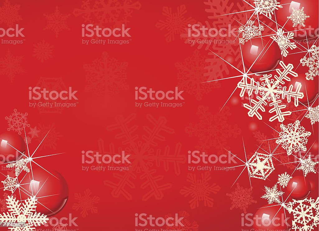 Red Christmas Holiday Background with Snowflakes and Baubles vector art illustration