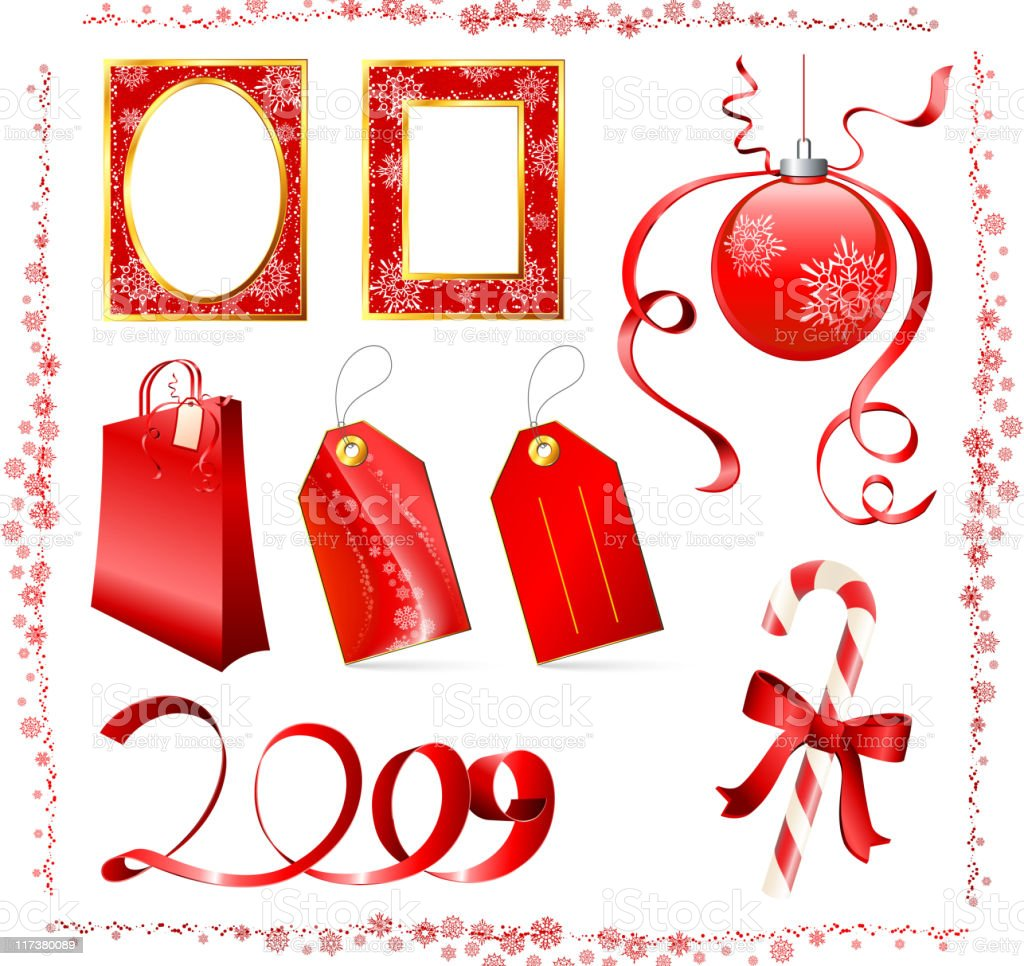 Red Christmas Holiday design elements with original snowflakes royalty-free red christmas holiday design elements with original snowflakes stock vector art & more images of bright
