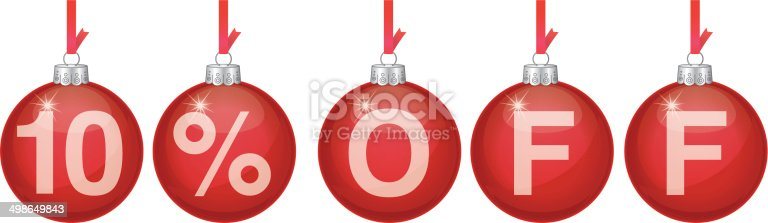 Vector illustration of red hanging christmas ornaments spelling out 10 Off.