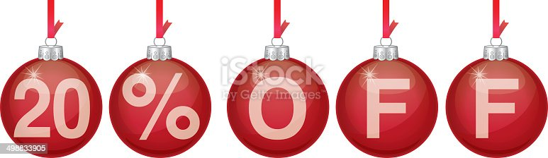 Vector illustration of red hanging christmas ornaments spelling out 20% OFF.