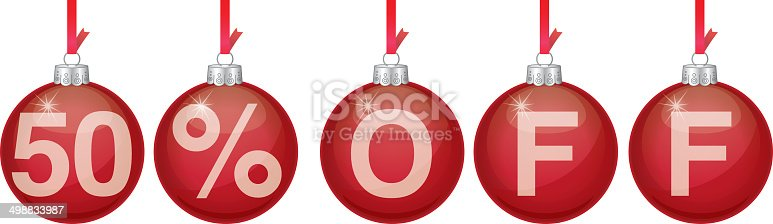 Vector illustration of red hanging christmas ornaments spelling out 50% OFF.