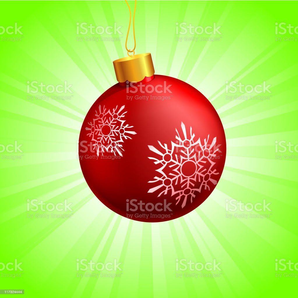 Red Christmas ornament on glowing green Background royalty-free stock vector art
