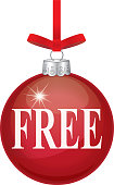 Vector illustration of red christmas ornament with the word FREE on it in white type.
