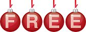 Vector illustration of red hanging christmas ornaments spelling out Free.