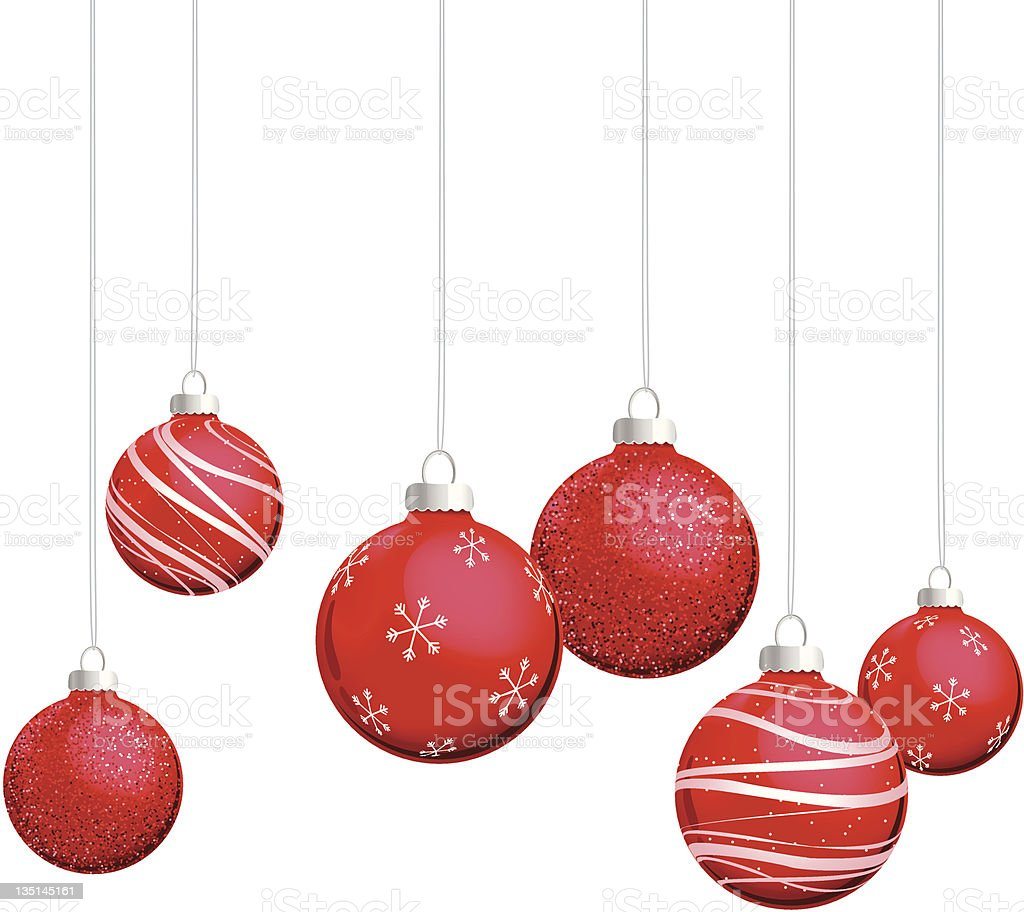 Red Christmas Ornaments Hanging on Silver Thread royalty-free red christmas ornaments hanging on silver thread stock vector art & more images of ball