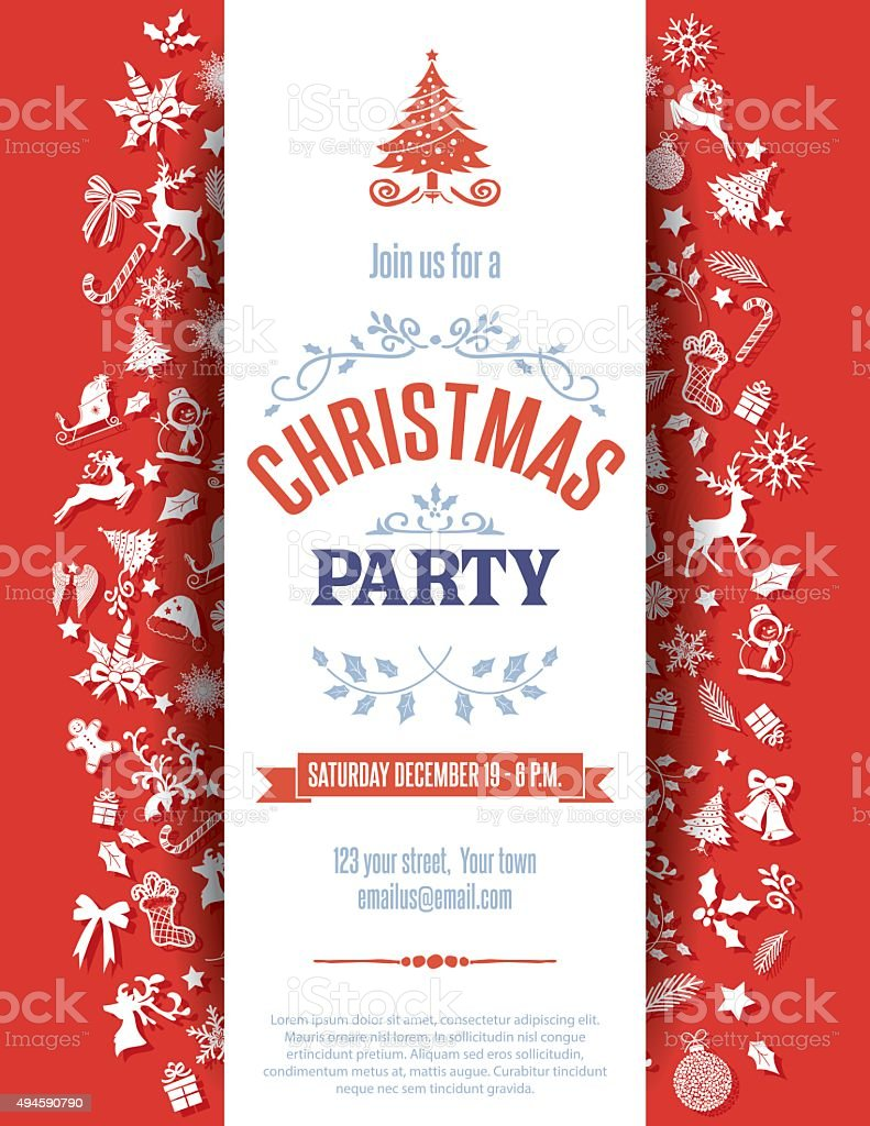 Christmas, Event, Holiday   Event, Reindeer, Snowflake. Red Christmas Party Invitation  Template Royalty Free ...  Christmas Dinner Invitation Template Free