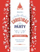 Red Christmas Party Invitation Template. The text is centered on a white banner with retro holiday icons in flat design colors.
