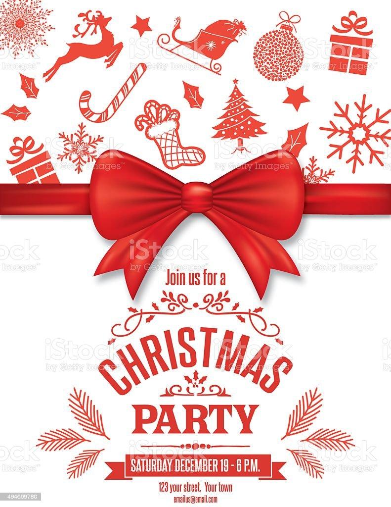 Rojo De Plantilla De Invitación De Navidad Con Arco Y Los Iconos ...