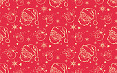 Red Christmas pattern with Santa Claus and snowman for fabric and wrapping paper design. Christmas Wallpaper. Vector seamless Christmas, New year pattern with Santa Claus, snowman and stars. Christmas seamless pattern