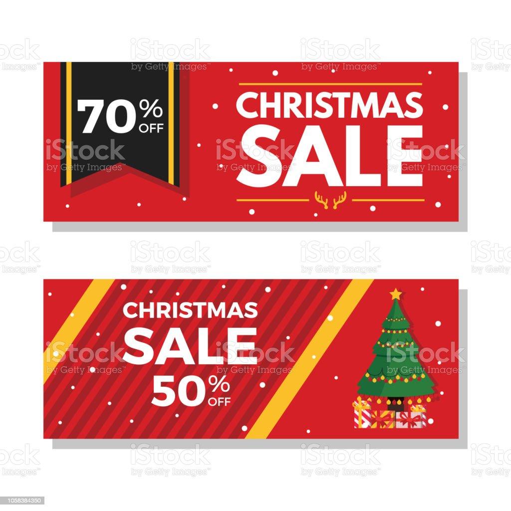 Roten Weihnachtsverkauf Banner Mit 70 Und 50 Rabatt Stock Vektor Art ...