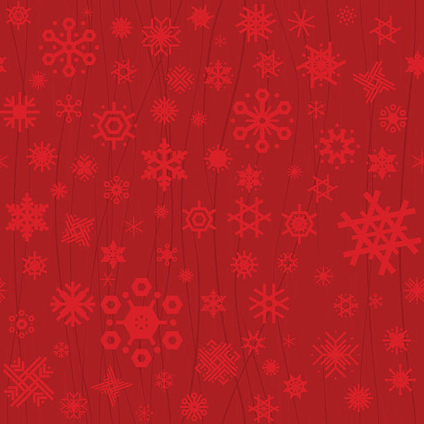 Red Christmas seamless snowflakes vector art illustration