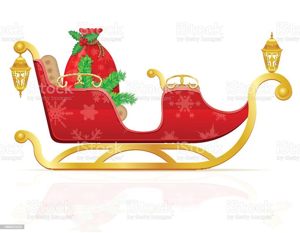 Rote Weihnachtsschlitten Der Weihnachtsmann Mit Geschenken ...