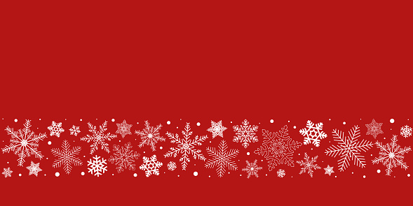 Red Christmas snowflakes background