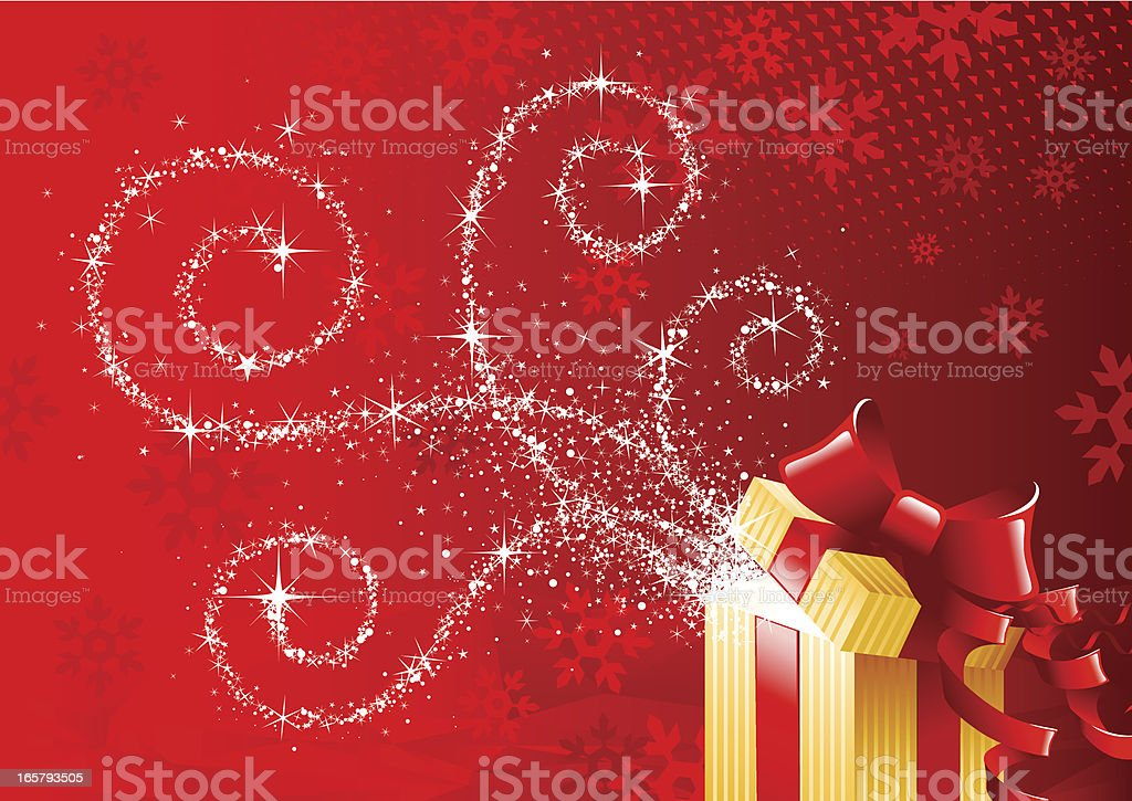 Red Christmas theme with silver sparkles and gold present royalty-free red christmas theme with silver sparkles and gold present stock vector art & more images of backgrounds