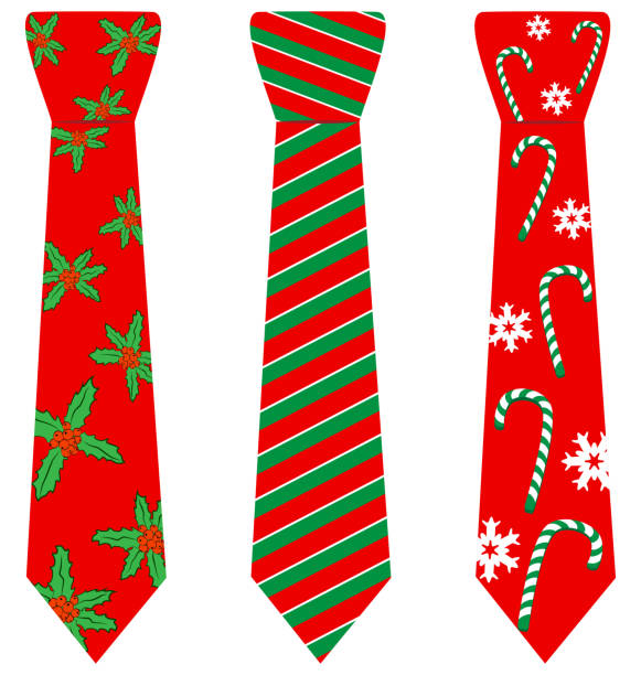 red christmas ties with print on white - tie stock illustrations, clip art, cartoons, & icons