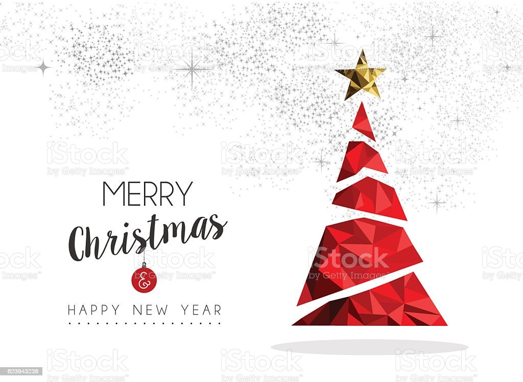 Red Christmas tree decoration for greeting card vector art illustration