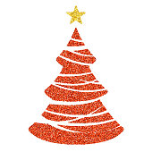 Red Christmas tree icon - Glitter vector Christmas Ornament on white background