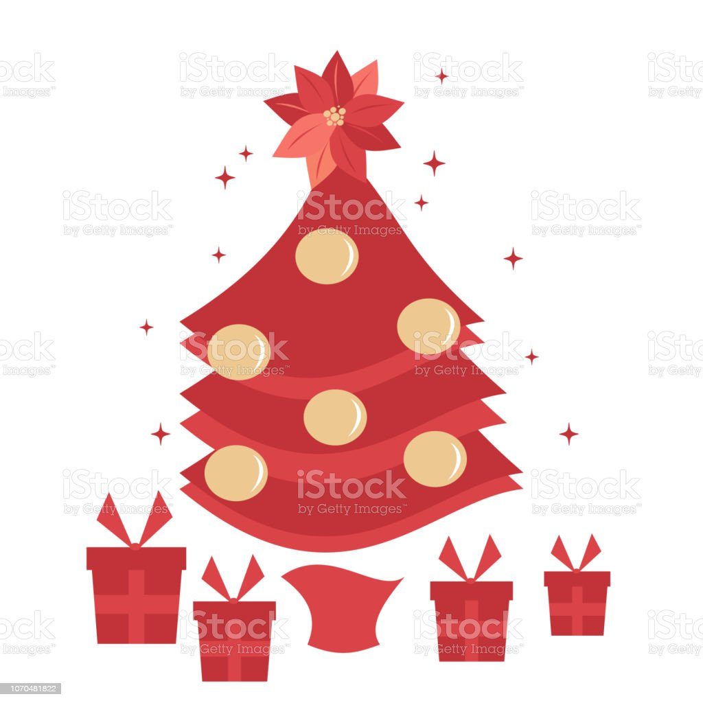 red christmas tree with gift box holiday vector illustration vector art illustration