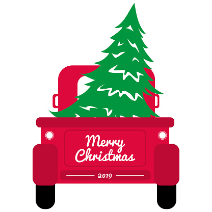 Red christmas truck with tree