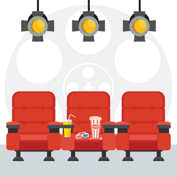 red cinema chairs poster vector art illustration