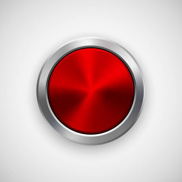帶有金屬拋光紋理的紅圈徽章 - 按鈕 幅插畫檔、美工圖案、卡通及圖標