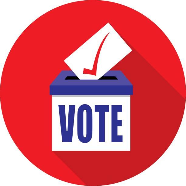 Red Circle Ballot Box icon Vector illustration of a ballot box on a red circle background. voting stock illustrations