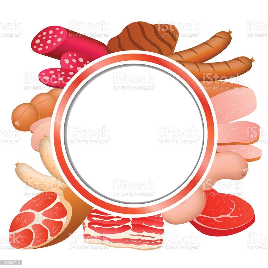 レッドのサークルフレーム食品背景ベクトルイラスト肉のソーセージ