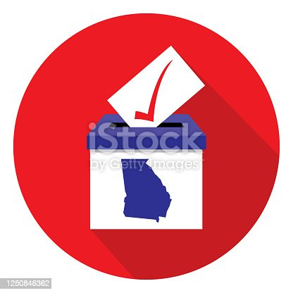 istock Red Circle Georgia Ballot Box Icon 1250846362