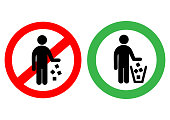 Red Circle No Littering Prohibited Sign. Vector illustration