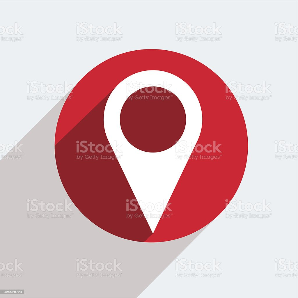 A red circle with a white location icon inside vector art illustration