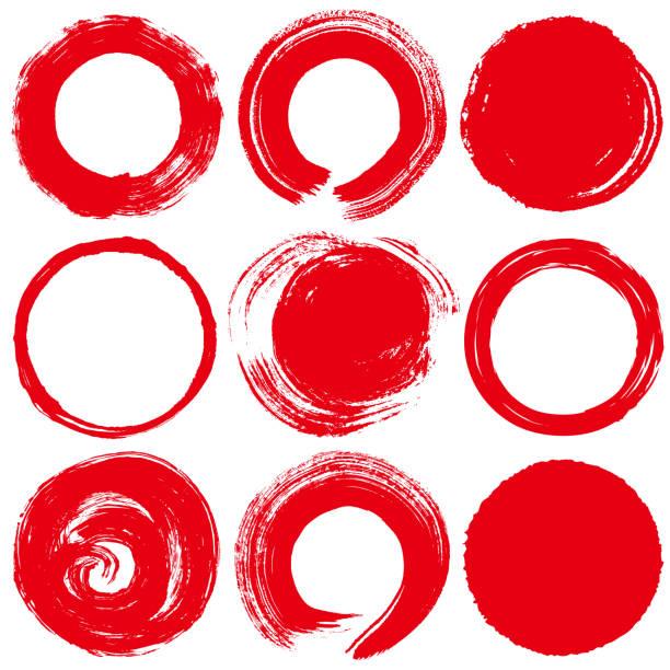 red circles. brush stroke. - япония stock illustrations