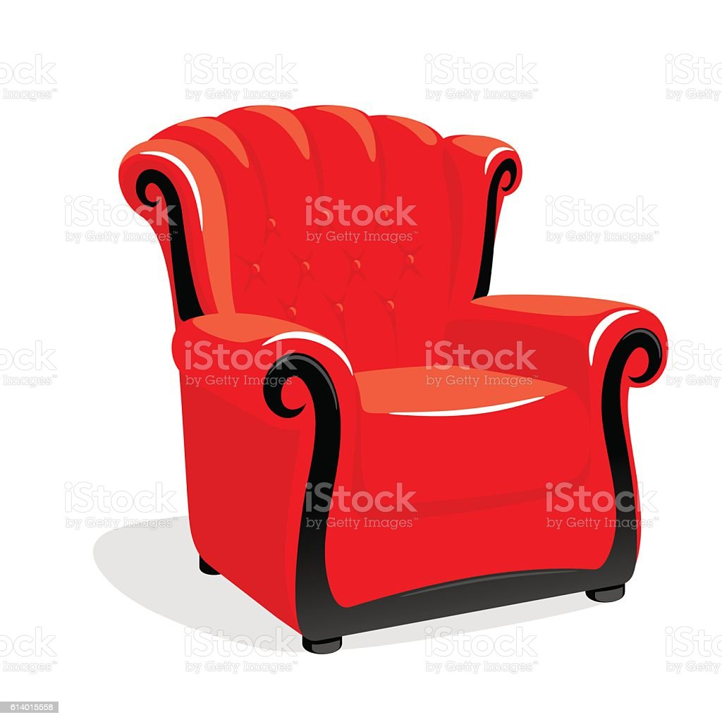 ... Red Classic Leather Armchair Vector Art Illustration ...