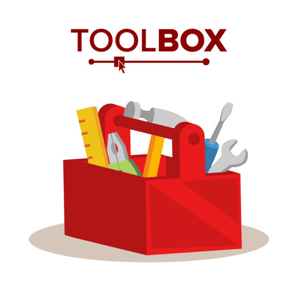 Red Classic Toolbox Vector. Full Of Equipment. Flat Cartoon Isolated Illustration vector art illustration