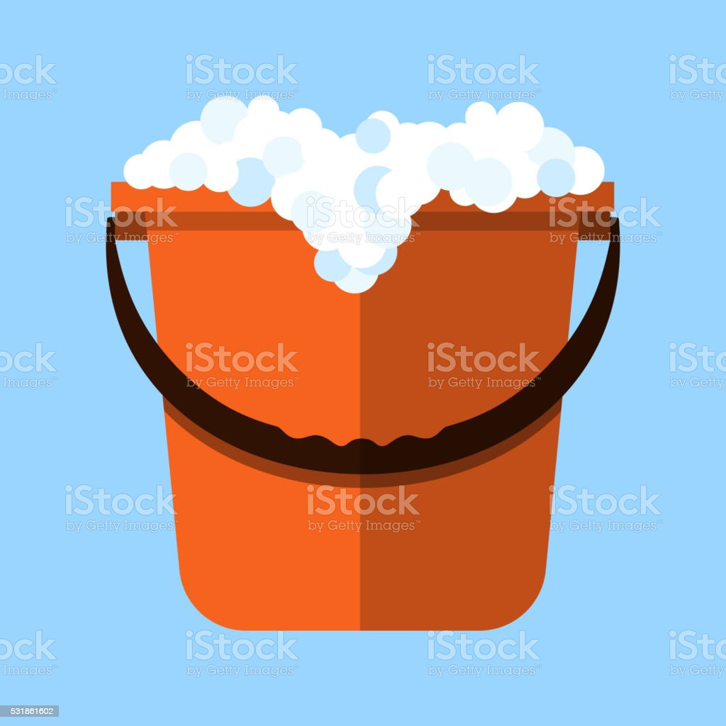 Red cleaning bucket with soap bubbles vector art illustration