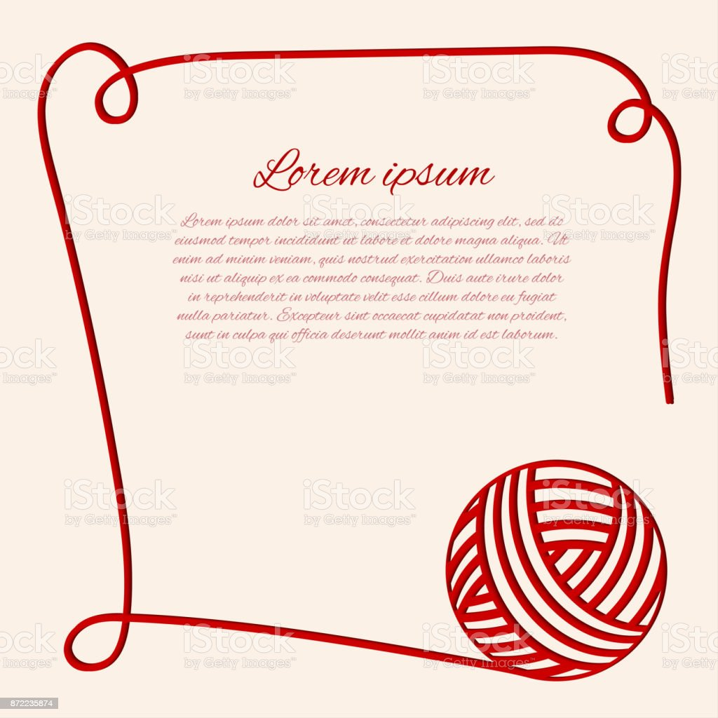 Red clew. Papercut yarn. Border with thread. vector art illustration