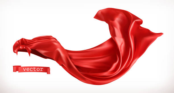 Red Cloak. 3d realistic vector Red Cloak. 3d realistic vector red cloth stock illustrations
