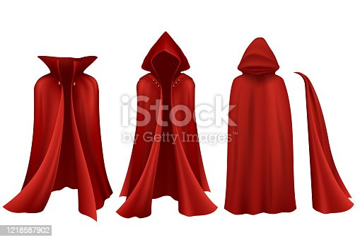 Red cloak set on white background in vector
