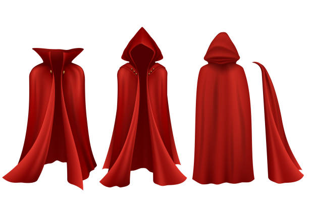Red cloak set on white background Red cloak set on white background in vector headland stock illustrations
