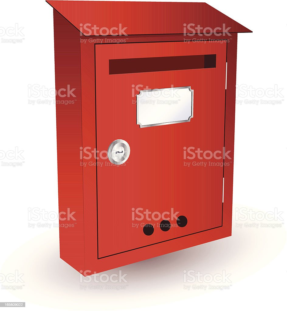 A Red Closed Mailbox On A White Background stock vector art