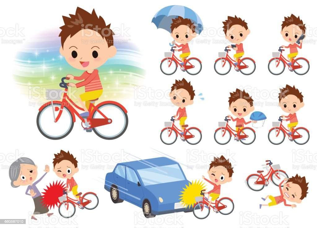 Red clothing short hair boy ride on city bicycle royalty-free red clothing short hair boy ride on city bicycle stock vector art & more images of bicycle