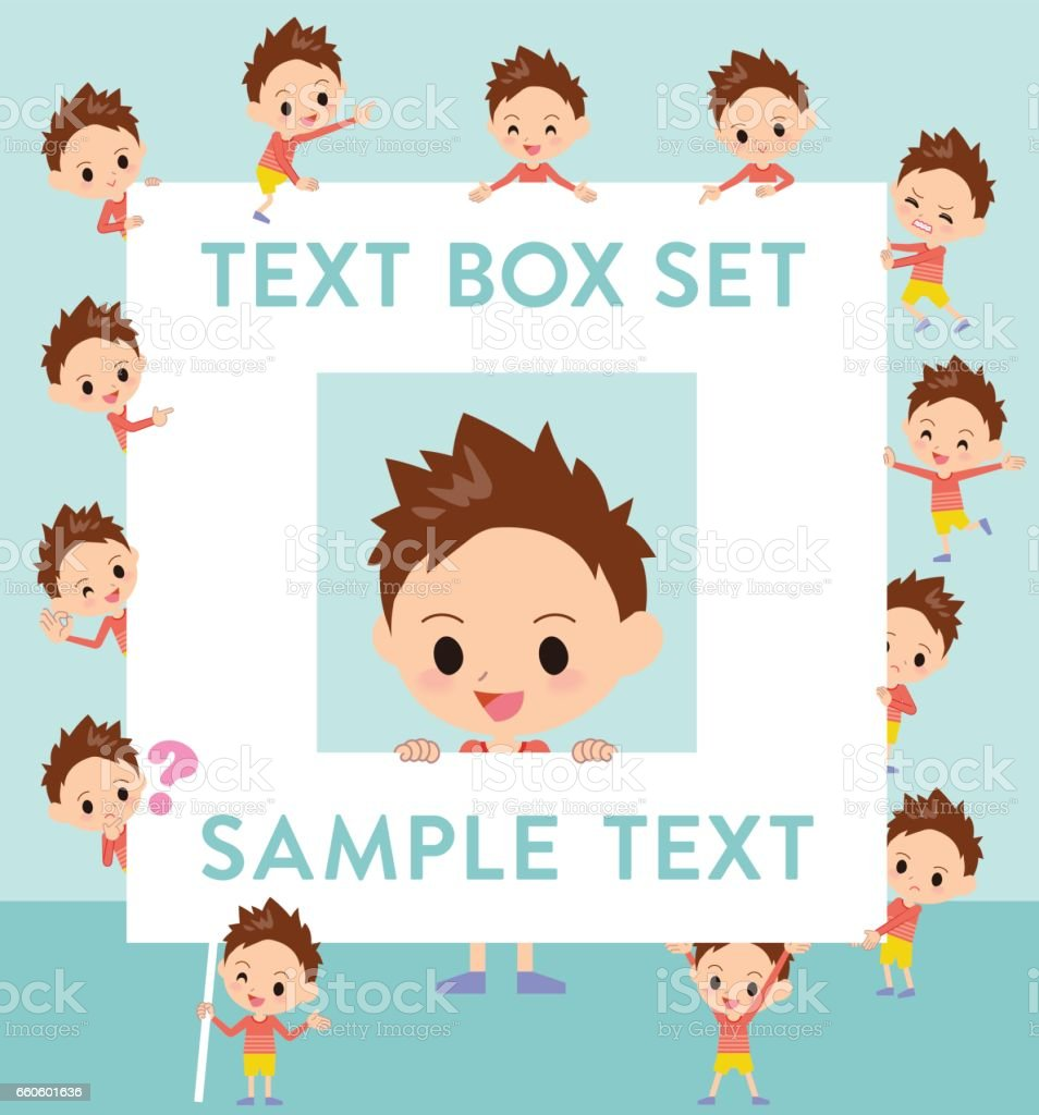 Red clothing short hair boy text box royalty-free red clothing short hair boy text box stock vector art & more images of adult