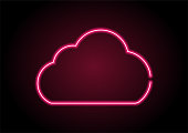 Red Cloud computing icon Neon Light On Black Wall