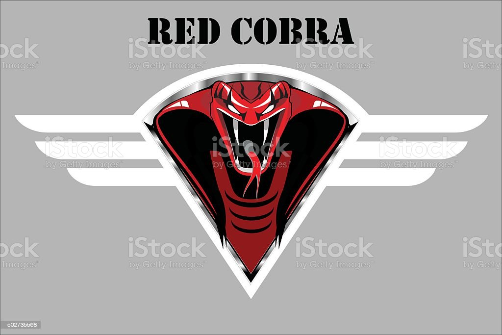 red cobra on the white winged metallic shield. vector art illustration