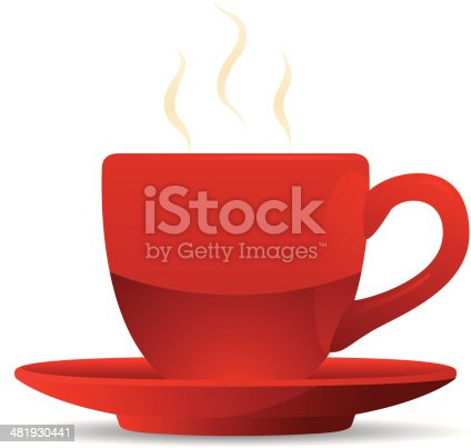 istock Red Coffee Cup and Saucer 481930441