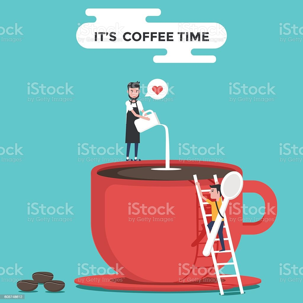 Red coffee cup with barista and coffee beans. vector art illustration