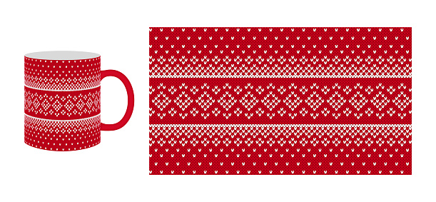 Red coffee cup with knitting texture. Seamless pattern. Vector illustration.