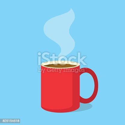 istock Red coffee mug with steam in flat design style. Vector illustration 825154518